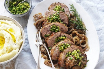 Slow Cooked Pork Scotch Roast with Green Olive Gremolata